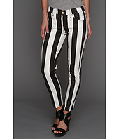 7 For All Mankind - Crop Slim Cigarette in Black/White Stripe