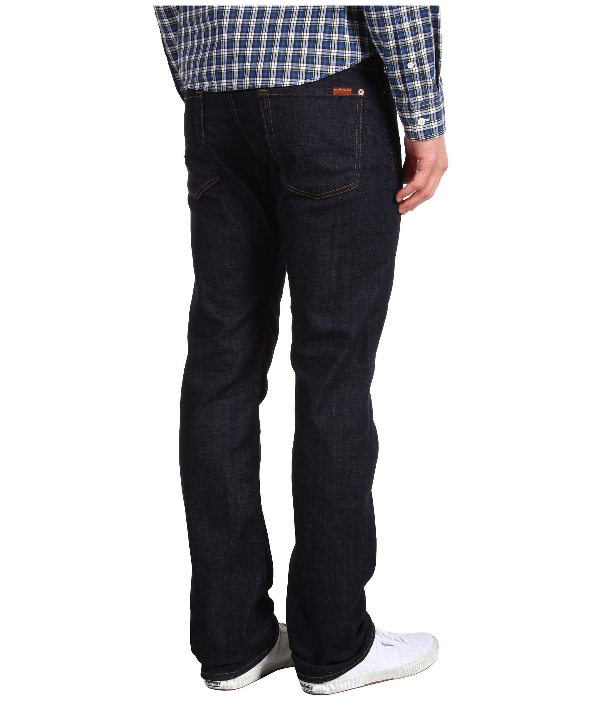 7 For All Mankind Standard Straight Leg in Dark and Clean at ...