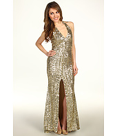 Badgley Mischka - Mark & James Front Slit Sequined Halter Gown