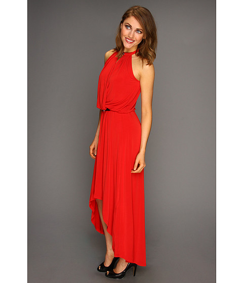MICHAEL Michael Kors - MJ Halter Elip Hem Dress (Red Blaze) - Apparel
