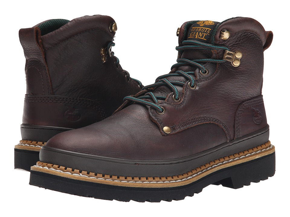 Georgia Boot - G6374 6 Safety Toe Georgia Giant (Brown) Mens Work Lace-up Boots