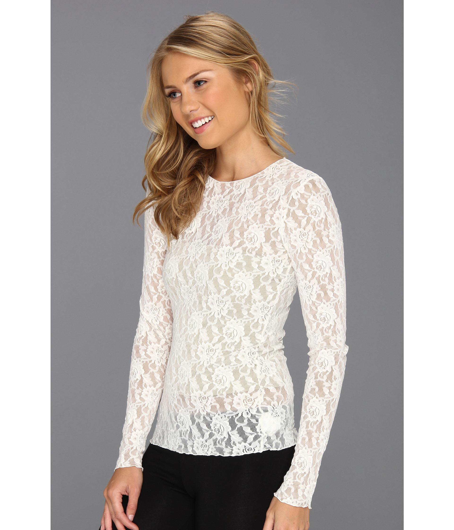 Hanky Panky Signature Lace Unlined Long Sleeve Top at Zappos.com