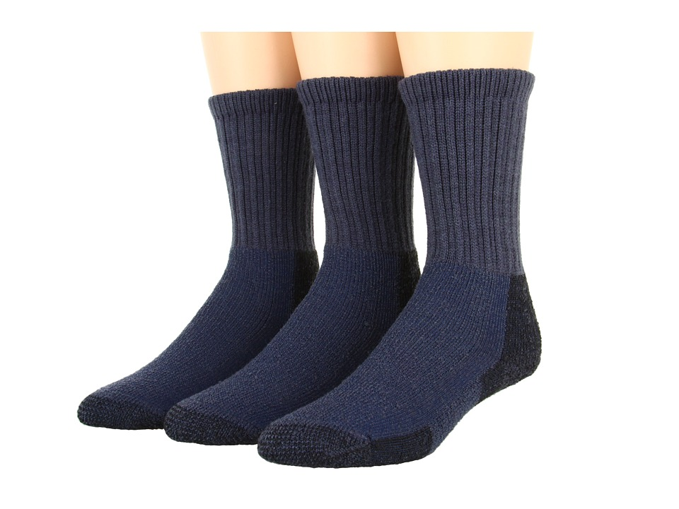 Thorlos - Thick Cushion Hiking Wool Blend 3-Pack (Dark Blue) Crew Cut Socks Shoes