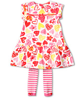 le top - Love Always Drop Waist Dress w/ Striped Footless Tights (Toddler/Little Kids)