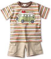 le top - Happy Camper Stripe Shirt w/ French Terry Cargo Shorts (Infant/Toddler)