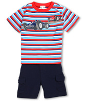 le top - Zoom! Stripe Shirt w/ Navy French Cargo Shorts (Infant/Toddler/Little Kids)
