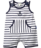 le top - Anchors Aweigh Nautical Stripe Sleeveless Romper w/ Pouch Pocket (Infant)