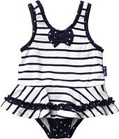 le top - Anchors Aweigh Nautical Stripe Skirted Swimsuit (Infant)