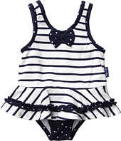 le top - Anchors Aweigh Nautical Stripe Skirted Swimsuit (Infant/Toddler/Little Kids)