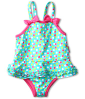 le top - Swirly Girly Dot Skirted Swimsuit w/ Ruching (Toddler/Little Kids)