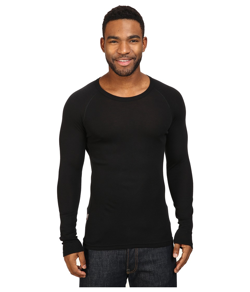 Icebreaker Everyday Light Weight Merino Long Sleeve Crewe (Black) Men