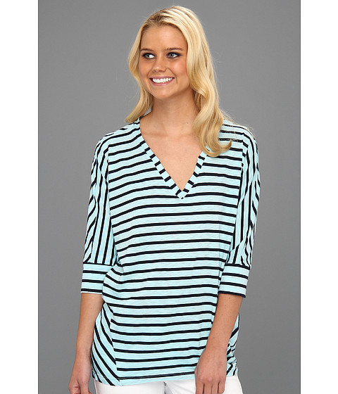 Splendid - Miami Stripe V-Neck Top (Caribbean) - Apparel