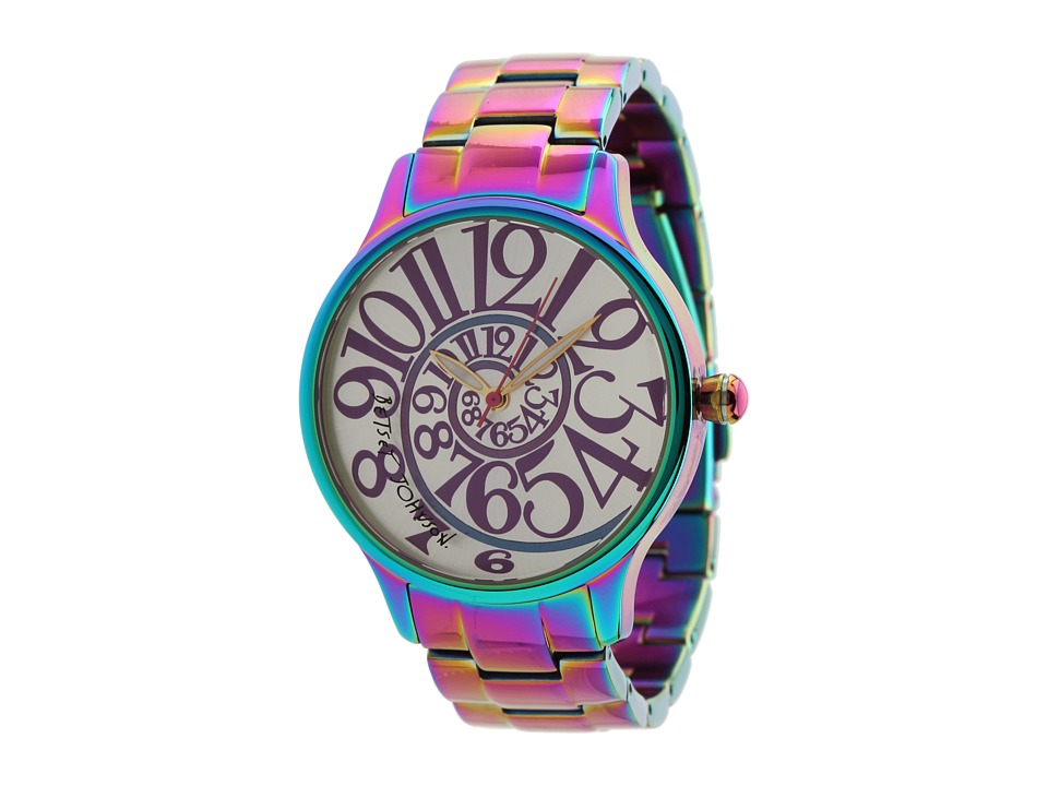 Betsey Johnson - BJ00040-11 Analog Rainbow Stainless Steel Case and Bracelet Watch (Stainless Steel/Rainbow) Analog Watches