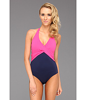 Tommy Bahama - Deck Piping V-Neck Halter Cup Wrapped One Piece
