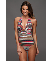 Tommy Bahama - Sea Schooner Stripe Plunged Neck Cup One Piece