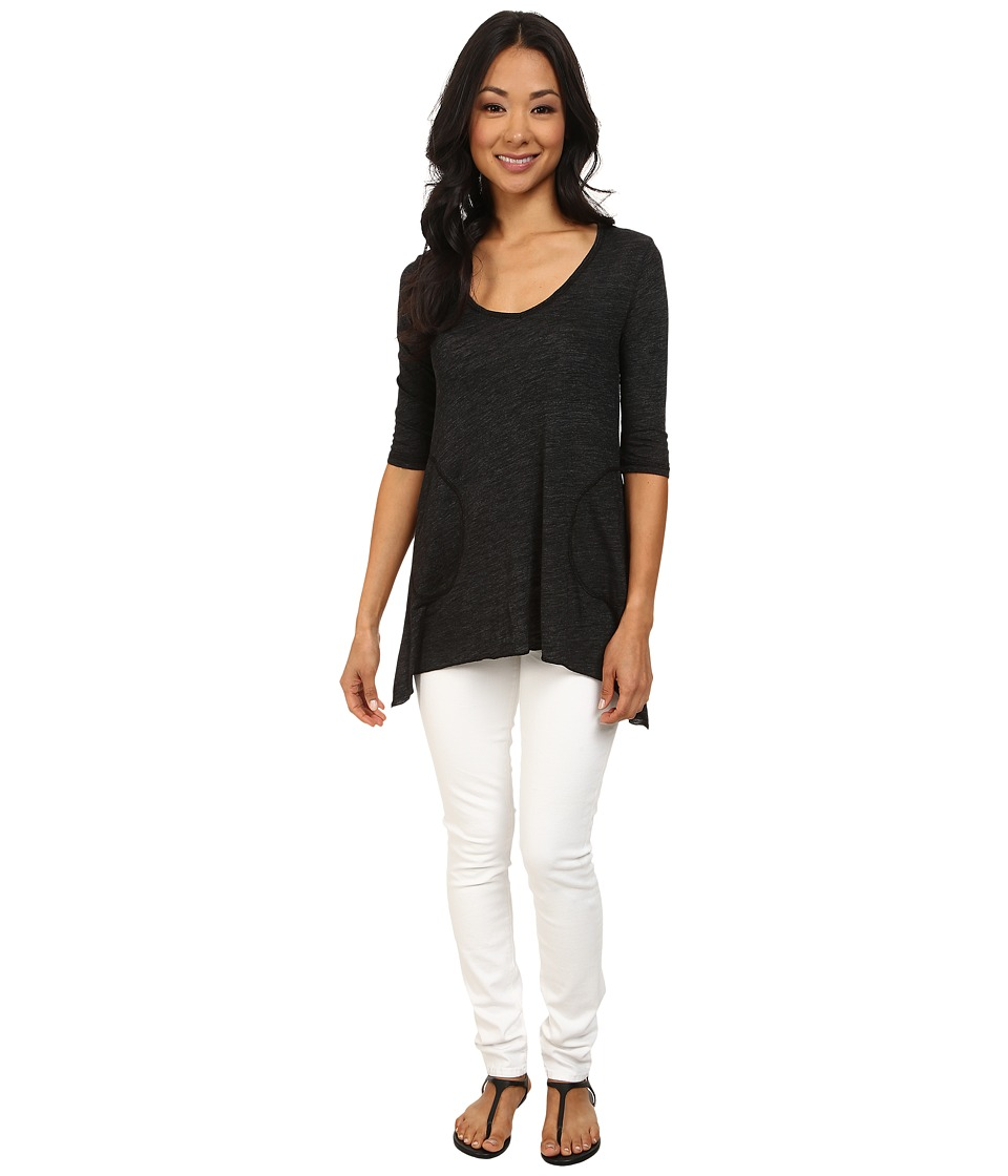 Allen Allen Slub Angled 3/4 Tunic Black Womens T Shirt