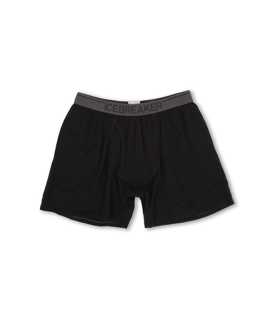 Icebreaker Anatomica Relaxed Boxers w/ Fly Black Mens Underwear