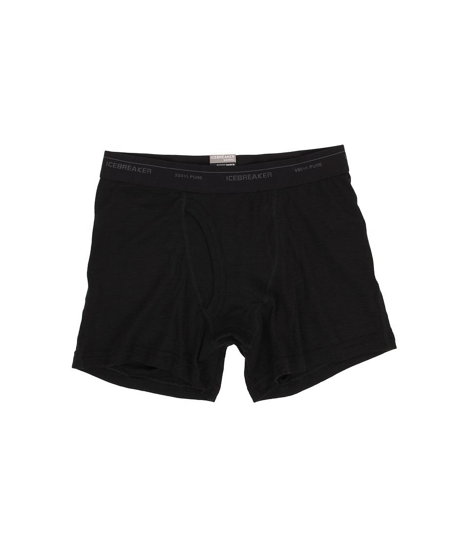 Icebreaker Everyday Boxer wFly Black Mens Underwear