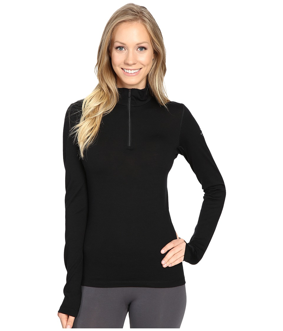 Icebreaker - Oasis Long Sleeve Half Zip (Black) Womens Clothing
