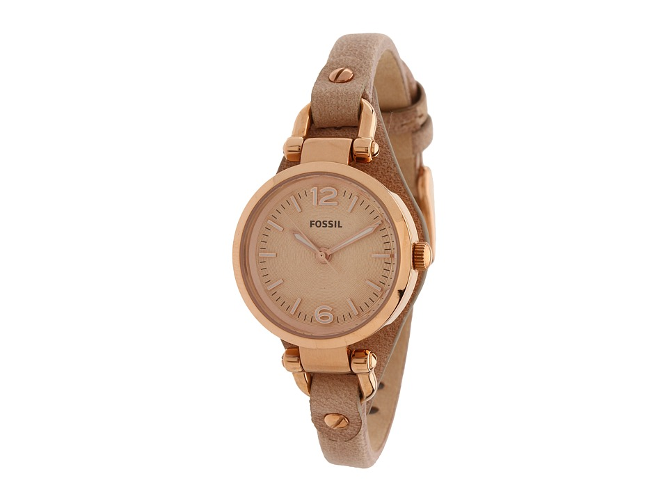 Fossil - ES3262 Georgia Mini Three Hand Leather Watch (Rosegold Case/Sand Strap) Watches