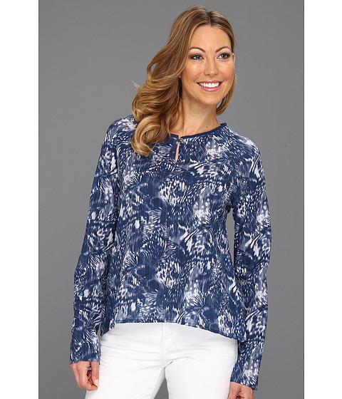 Cheap Calvin Klein Jeans L S Keyhole Top Biro Blue Print
