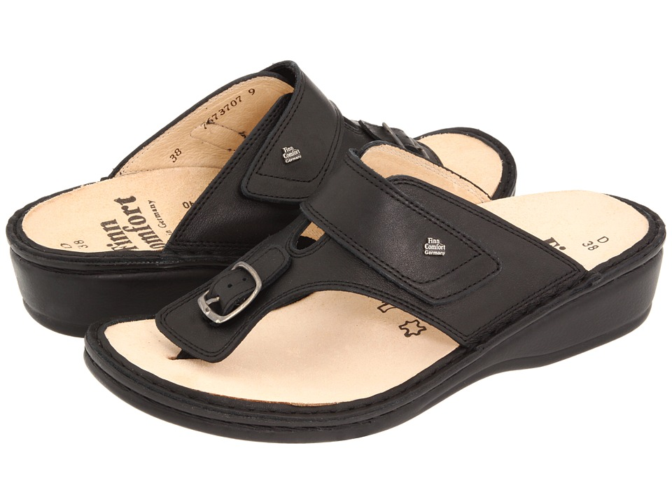 Finn Comfort Phuket 2533 (Black Nappa Classic Footbed) Sandals