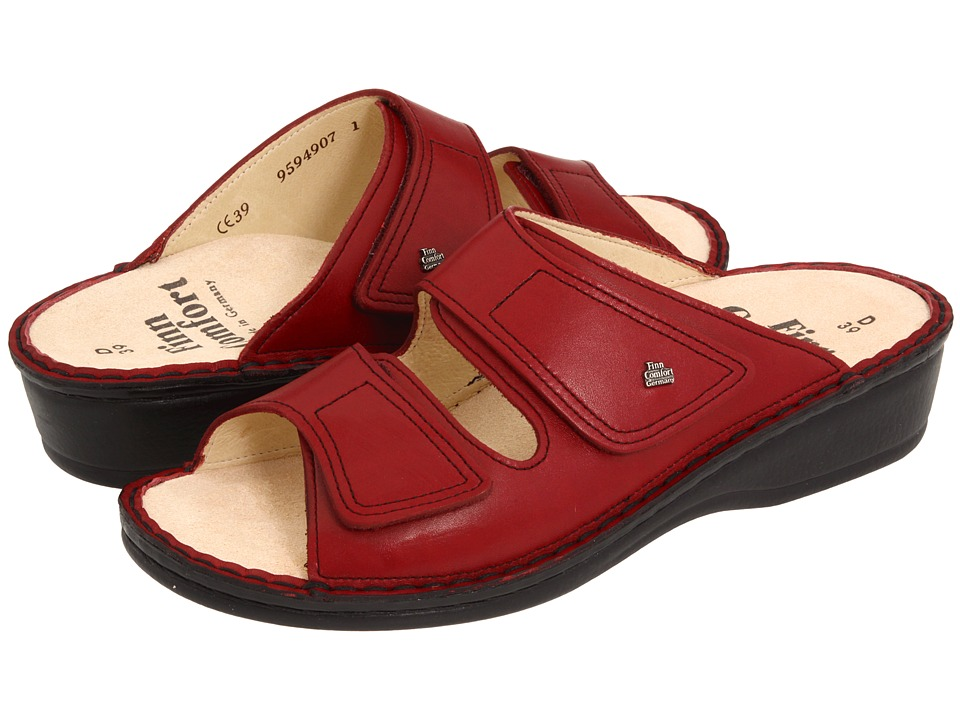 Finn Comfort Jamaica 82519 Sangria Red Soft Footbed Womens Slide Shoes