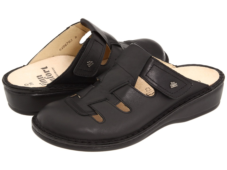 Finn Comfort Java 2520 Black Nappa Leather Womens Clog Shoes