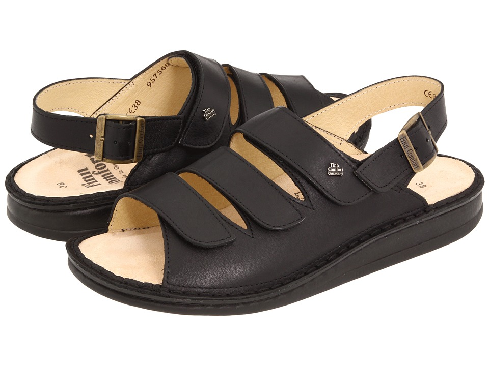 Finn Comfort Sylt 82509 (Black Nappa Soft Footbed) Women's Shoes