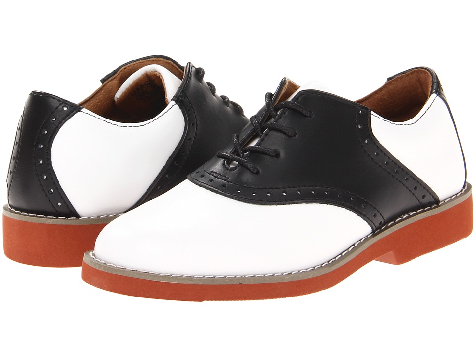 School Issue - Upper Class (Toddler/Little Kid/Big Kid) (White/Black Leather) Girls Shoes