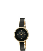 Anne Klein - AK-1232BKGB Leather Insert Gold-Tone Bangle Watch