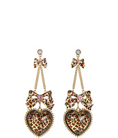 Betsey Johnson - Leopard Heart Bow Drop Earrings