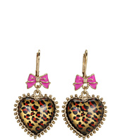 Betsey Johnson - Leopard Heart Drop Earrings