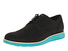 Cole Haan - LunarGrand Wingtip (Black Suede/Volt) - Footwear