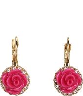 Betsey Johnson - Resin Flower Crystal Drop Earrings