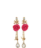 Betsey Johnson - Resin Flower Bird Front Back Earrings