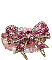 Betsey Johnson - Heart and Bow Crystal Bow Bead Stretch Bracelet