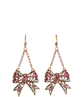Betsey Johnson - Heart and Bow Crystal Swag Earrings