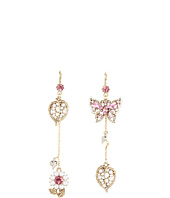 Betsey Johnson - Heart and Bow Butterfly Leaf Non-Matching Earrings