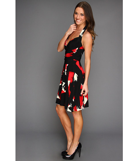 KAMALIKULTURE - Halter Sweetheart Flare Dress (Red Abstract Brushstroke) - Apparel