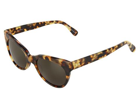 KAMALIKULTURE by Norma Kamali Square Cat Eye Sunglasses - Tokyo Tort/Green