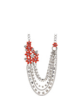 Betsey Johnson - Coral Glam Coral Flower Rhinestone Swag Necklace
