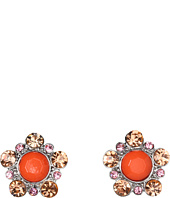 Betsey Johnson - Coral Glam Coral Flower Stud Earrings