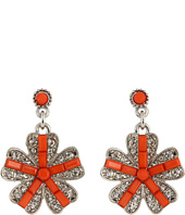Betsey Johnson - Coral Glam Flower Gem Drop Earrings