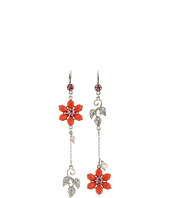 Betsey Johnson - Coral Glam Flower Non-Matching Earrings