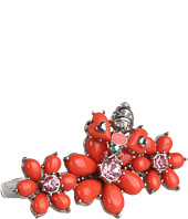 Betsey Johnson - Coral Glam Flower Bug 2-Finger Ring
