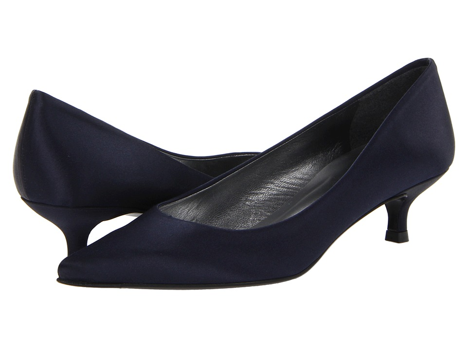 Stuart Weitzman Poco (Navy Satin) Women's Slip-on Dress Shoes