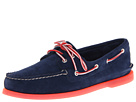 Sperry Top-Sider - A/O 2-Eye Ice Suede (Navy/Red) - Footwear