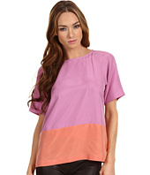 Tibi - Colorblocked Silk Easy Short Sleeve Top