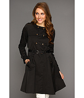 Cole Haan - City Nylon Doube Breasted Collarless Trench W/ Skirted Bottom